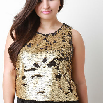 Two-Tone Sequined Sleeveless Top