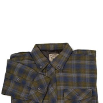 1897 Button Down Plaid Flannel Shirt in Grey GLXC8283D