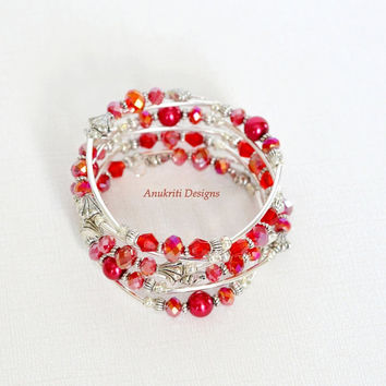 Red Beaded Memory Wire Bracelet **Free US Shipping** Wrap bracelet, Crystal bracelet