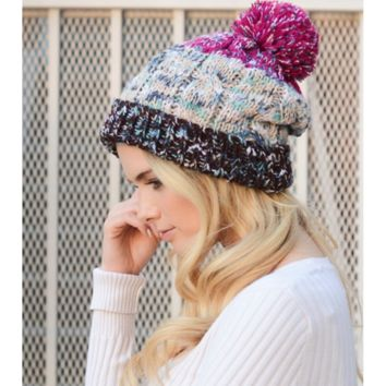 Fuchsia Multi-Color Pom Knit Beanie