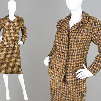 Vintage 60s Two Piece Jackie O Skirt Suit Brown Boucle Wool Tweed Womens Suit 1960s Mod Suit Mad Men Office Wear Secretary Plaid Check Sut