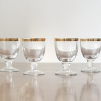 Vintage set of 4 shot glasses & pitcher with gold details, made in the USSR (1960s-1970s)