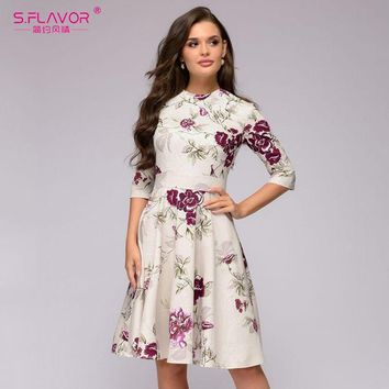 S.FLAVOR Women casual Knee-length A-line dress hot sale printing three quarter sleeve vintage vestidos winter bottom dress