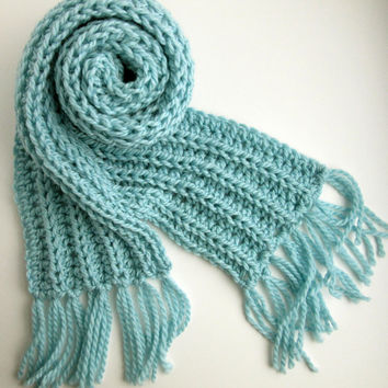 Powder Blue Hand Knit Scarf - Blue Fringed Scarf - Crochet - Fishermans Rib