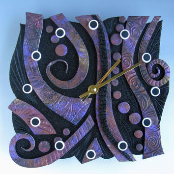 Raku Time Unique Polymer Clay Art Clock. Free Form in Textured Raku Crazy Stripe on Black Polymer Clay