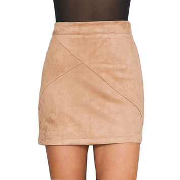 2016 Summer Style Casual Mini Skirt Suede Sexy Straight Girl Party Evening Beach Solid Womens Office Work Girl Skirts