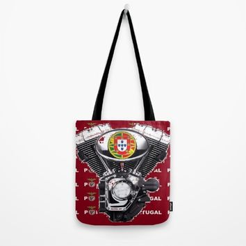 Portuguese biker soccer fan. Tote Bag by Tony Silveira
