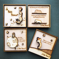 Wood Engraved 3D Magnet set - The Little Prince - multi-layered / Le Petit Prince / Wood carving