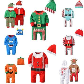 New Born Baby Boy Girl Deer Cartoon Christmas Rompers Bebe Kids Cotton Cute Clothes Romper Outfit +Hat 2PCS Outfits SetsCA3321