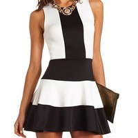 COLOR BLOCK SCUBA SKATER DRESS
