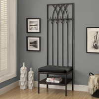 "Black Hammered Metal 72""H Hall Entry Bench"