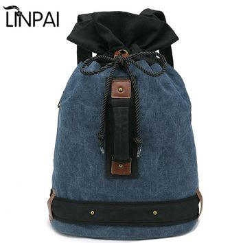 Large Capacity Men Travel bag Backpack Bags Canvas Bucket Shoulder Bag Luggage Bucket Casual Back Pack Canvas Bag