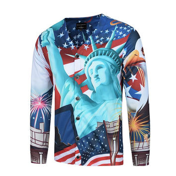 North America Fashion Men&'s 3d Shirts Print USA Flag And The Statue of Liberty Long Sleeve Blouse V