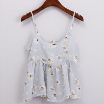 Floral Printed Spaghetti Strap Chiffon Cami Tank Top in Light Blue