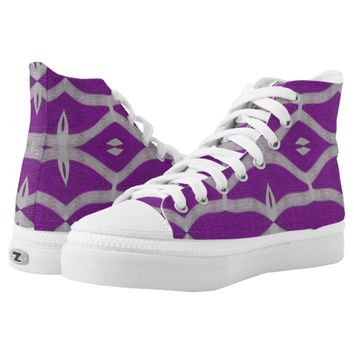 Purple Grey Ornate pattern design Printed Shoes