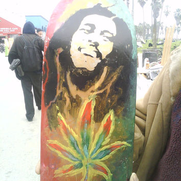 HAND PAINTED Bob Marley Pot Leaf Broken Skateboard Art