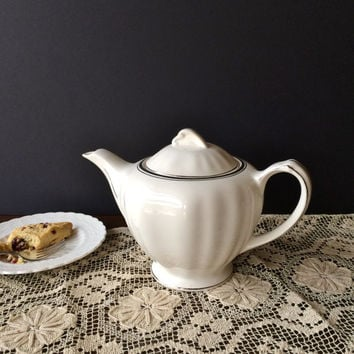Vintage J & G Meakin Ironstone Teapot Silver Baroque Pattern J G Meakin Sol Silver on White Teatime Afternoon Tea