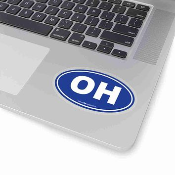 Ohio OH Euro Oval Sticker SOLID BLUE