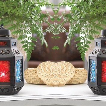 Set of 2 Colorful Moroccan Candle Lanterns