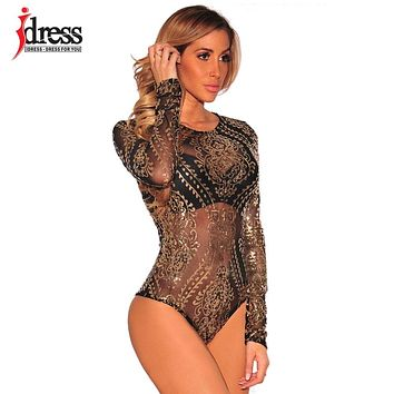 IDress Sexy Body Women Jumpsuits Long Sleeve Sequined Bodysuits Gold Sequin Leotard Bodysuits Embroidery Rompers Women Jumpsuit