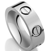 White Ring Stainless Steel Ring Couples Wedding Engagement Promise