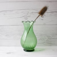 Small Vintage Green Glass Flower Vase with Ruffled Edges | Country, Rustic, Farmhouse Style Vase
