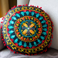 Black Turkish Traditional Decorative Round Pillow,Cushion Cover,Embroidered Pillow,Cotton Pillow Case, Round Pillow Case