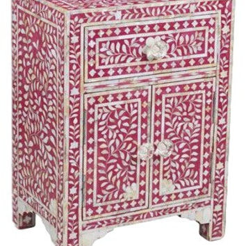 Bone Inlay Furniture - Pink Nightstand Side Table Floral Pattern | Free Shipping