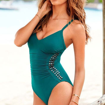 2014 Top Fasion New Fashion Women's One Pieces Swimsuit Rivet Novelty Monokini Sexy Swim Suits Outdoor Fun & Sports Bathing Suit = 1955906116