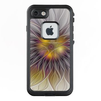 Luminous Colorful Flower, Abstract Modern Fractal LifeProof® FRĒ® iPhone 7 Case