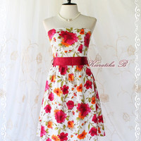 SALE- Floral Party - Sweet Glamorous Gorgeous Cotton Strapless Dress Floral Printed With Burgundy Sash Cocktail Prom Dinner Wedding Dress