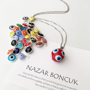 Murano glass evil eye necklace, evil eye charm necklace, lamp work evil eye necklace