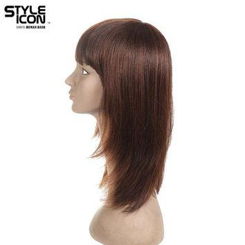 LMFG8W Styleicon Brazilian Virgin Hair Straight Human Hair Wigs For Women Classic Style 12 Inch Color 1b And F2/33 Free Shipping