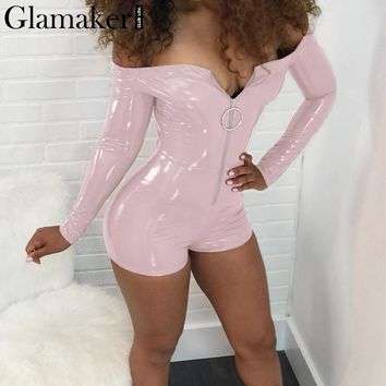 Glamaker Off shoulder pu leather bodycon jumpsuit romper Women sexy zipper slim party playsuit Female club cool skinny overalls