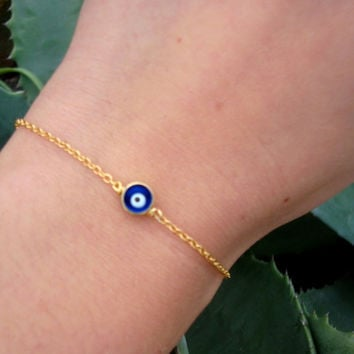 Gold Chain Evil Eye Bead Bracelet