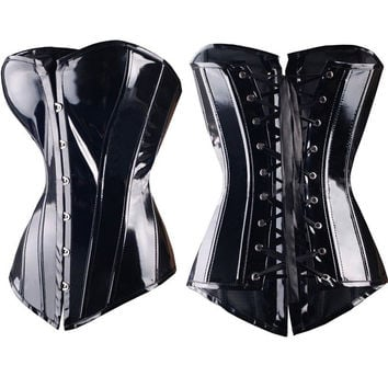 Sexy Black Steampunk Faux leather/PVC Lace up BONED Gothic Corsets and Bustiers Lingerie Slimming Body Shaper top