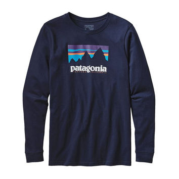 Patagonia Men's Long Sleeved Shop Sticker Tee- Navy