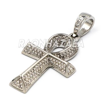 Hip Hop Iced Out Stainless Steel  Egyptian Ankh Pendant W Cuban Chain.