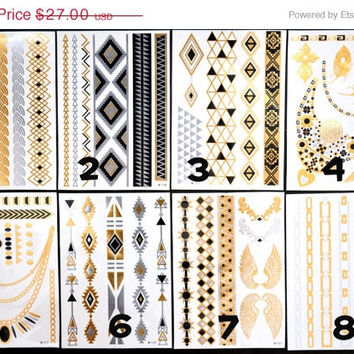 SALE!  Pick Any Three Bundle Pack! - Metallic Gold Silver Blue and Black Temporary Tattoo - Flash Tattoo - Jewelry - Body Ink Art - Stylish