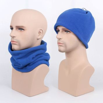 Double Layer Fleece Neck Warmer Winter Headwear Cap Wind Proof Hat Face Mask Cycling Muffler Scarf Hood Men Bike Bicycle Bandana