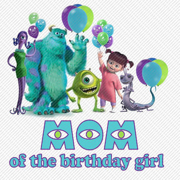 Monsters Inc Mom of the Birthday Girl Printable Digital Iron On Transfer Clip Art DIY Tshirts Instant Download