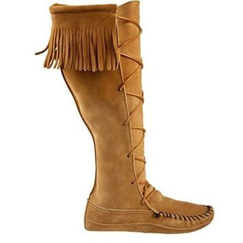 VONES2C Minnetonka Knee Hi - Tan Fringe Knee-High boot