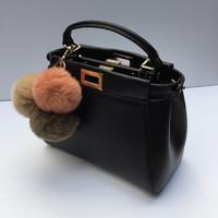 Trio rabbit fur pom pom corsage Bag Charm Totem Beige-Brown-Rusty