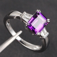 Emerald Cut Amethyst Baguette Diamond Wedding Ring 14K White Gold 6x8mm Claw Prongs