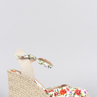 City Classified Floral Ankle Strap Espadrille Platform Wedge