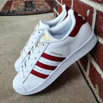 """""""Adidas"""" Superstar Shell toe White/Burgundy Casual Sneakers"""