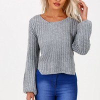 Sweet Nothing Grey Cropped Knitted Jumper
