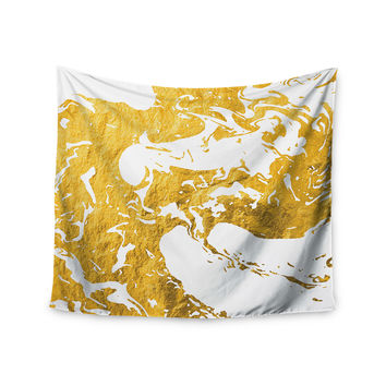 "KESS Original ""Gold Ink on Water"" White Metal Wall Tapestry"