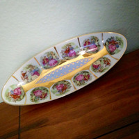 Antique Japanese Victorian couple celery dish, Arnart Japan beehive porcelain, light beading, oval dish, 11/102N