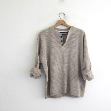 Vintage henley sweater. off white oatmeal boyfriend sweater. Button front sweater. oversized baggy textured sweater